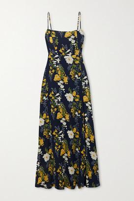 Reformation Net Sustain Ingrid Floral-print Georgette Maxi Dress - Navy
