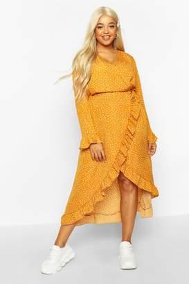 boohoo Plus Polka Dot Ruffle Wrap Midi Dress