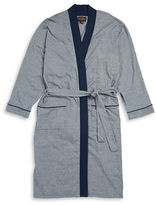 Black & Brown Black Brown Striped Cotton-Blend Robe