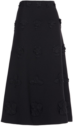 Valentino Floral-appliqued Wool And Silk-blend Twill Midi Skirt