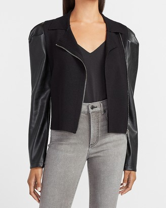 Express Vegan Leather Puff Sleeve Asymmetrical Zip Sweater Jacket
