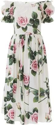 Dolce & Gabbana Tropical Rose Off-shoulder Dress