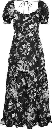 McQ Ruffle-trimmed Floral-print Satin-twill Midi Dress