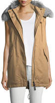 Derek Lam 10 Crosby Cotton Zip-Front Utility Vest w/ Fur Trim