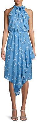 Parker Shasta Daisy-Print High-Neck Dress