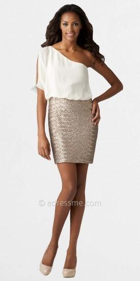 Aidan Mattox One Shoulder Sequin Skirt Cocktail Dress