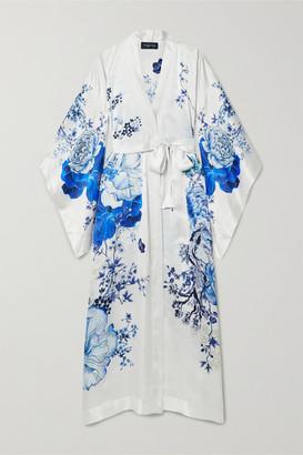 Meng MENG - Floral-print Silk-satin Robe - Blue