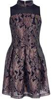 River Island Girls navy metallic lace prom dress