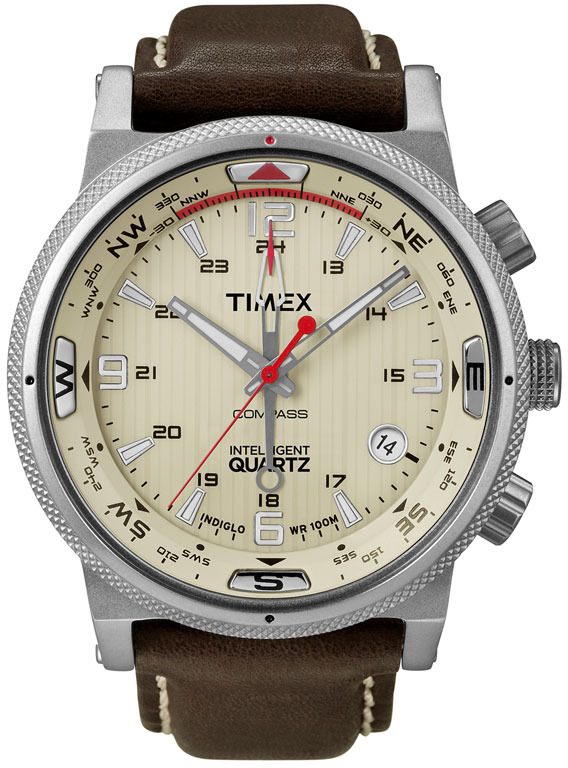 Timex 'Intelligent Quartz' Leather Strap Compass Watch
