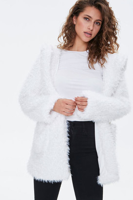 Forever 21 Hooded Fuzzy Knit Jacket