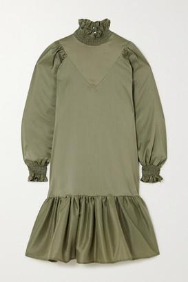 AVAVAV Ruffled Smocked Cotton-blend Poplin Dress - Green