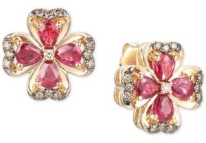 LeVian Le Vian Certified Passion Ruby (1-3/4 ct. t.w.) & Diamond (1/5 ct. t.w.) Flower Stud Earrings in 14k Gold