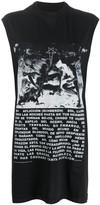 Rick Owens cap sleeve long printed T-shirt