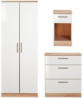Swift Montreal Gloss 3-piece Ready Assembled Package 2-Door Wardrobe, 3-Drawer Chest and Bedside Table