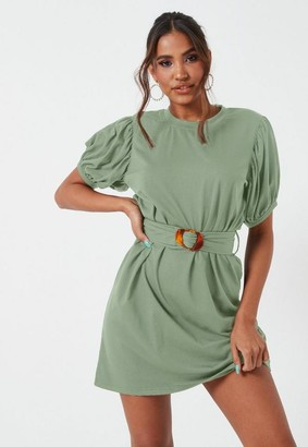 Missguided Sage Tortoise Shell Belted Puff Sleeve Mini Dress