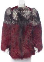 Lanvin Fox Fur-Trimmed Mink Coat