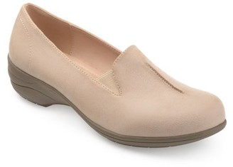 Brinley Co. Womens Casual Faux Leather Comfort-sole Loafers