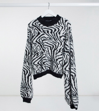 Wednesday's Girl Curve oversized jumper with balloon sleeves in zebra knit