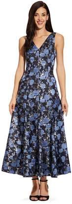 Adrianna Papell Womens Blue Jacquard Midi Dress - Blue