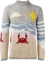 Thom Browne beach motif jumper - men - Cotton/Mohair/Wool - 2