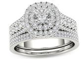 Zales 1 CT. T.W. Diamond Double Cushion Frame Multi-Row Bridal Set in 14K White Gold