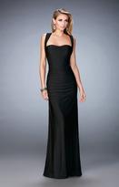 La Femme 21730 Straight Across Jersey Sheath Dress