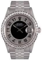 Rolex Datejust Stainless Steel & Black Diamond Bull Eye Tuxedo Dial 36mm Mens Watch