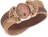 lonna & lilly Gold-Tone & Brown Velvet Neutral Stone Bracelet