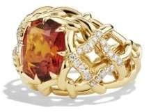 David Yurman Venetian Quatrefoil Ring With Madeira Citrine And