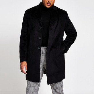 River Island Big and Tall black single breasted overcoat