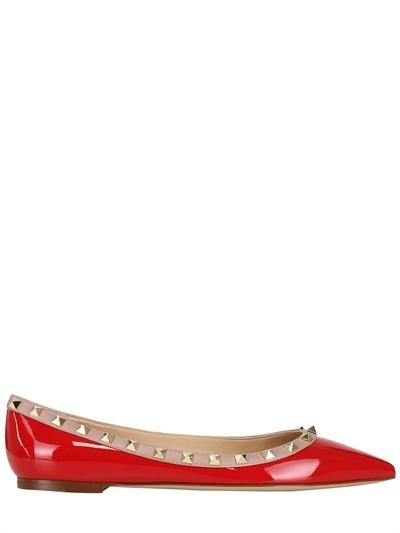 Valentino 10mm Rockstud Patent Ballerina Flats