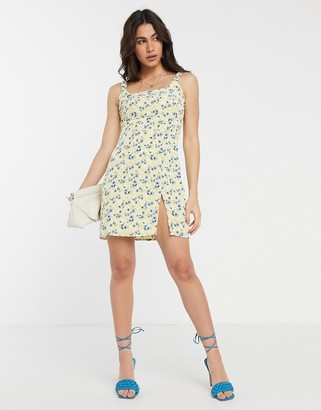 Fashion Union mini dress in floral print with thigh split