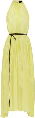 Ellery Pleated Belted Satin Midi Dress