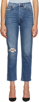RE/DONE Blue Ultra High-Rise Stove Pipe Jeans