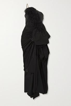 Dries Van Noten Asymmetric Feather-trimmed Crystal-embellished Taffeta Gown - Black