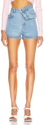 Y/Project Asymmetric Denim Shorts in Ice Blue | FWRD