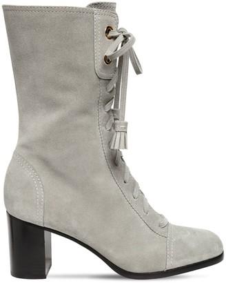 Alberta Ferretti 65mm Suede Ankle Boots