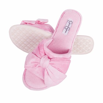 Jessica Simpson Womens Plush Open Toe Slide On House Slipper with Bow (Size Small Pink)