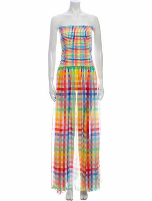 Caroline Constas Plaid Print Long Dress
