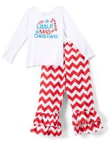 Beary Basics Red 'Miss X-Mas' Long-Sleeve Tee & Ruffle Pants - Toddler & Girls