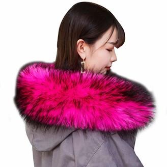 Asken Women Fake Fur Hood Collar Wrap Removable Neck Scarf Warmer Hat Trim For Winter Coat Parka Coats Fuchsia 65cm
