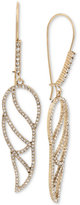 Betsey Johnson Gold-Tone Crystal Pavé Openwork Wing Drop Earrings