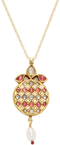 Amrapali Women's Yellow Gold, Ruby, Sapphire & South Sea Pearl Pendant Necklace