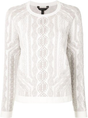 BCBGMAXAZRIA rope-print long-sleeve T-shirt