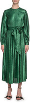 Marc Jacobs Runway) Pleated Lame Self-Tie Midi Dress