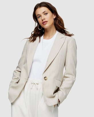 Topshop Single-Breasted Blazer with Linen