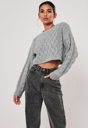 Missguided Gray Cable Knit Super Cropped Sweater