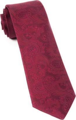 Tie Bar Twill Paisley Burgundy Tie