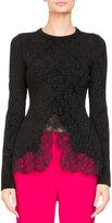 Givenchy Crewneck Damask Jacquard Sweater
