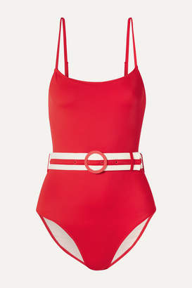 Solid & Striped The Nina Belted Swimsuit - Red